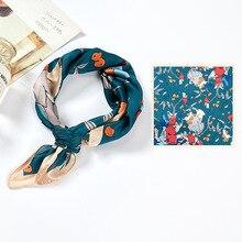 Hair-Scarf Satin Silk for Women Small Square Headband Mountain Stream Printing Ladies