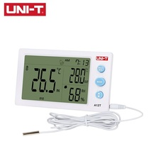 UNI-T A12T Digital LCD Thermometer Hygrometer Dual Temperature Humidity Meter Alarm Clock Function Outdoor Temperature Test uni t ut331 digital thermo hygrometer thermometer temperature humidity moisture meter tester w lcd backlight