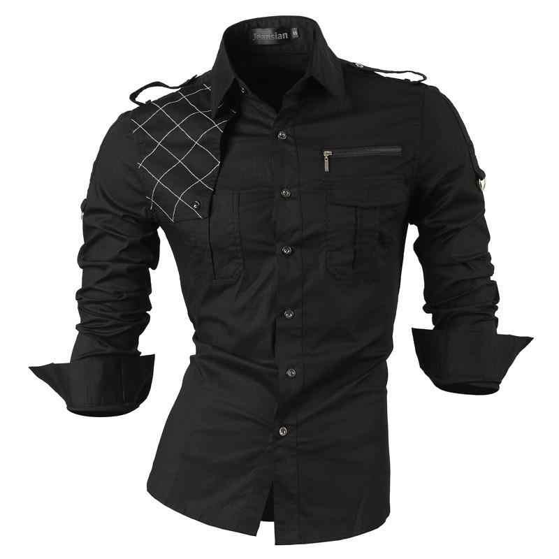 Jeansian męska Casual Dress koszulki z krótkim rękawem moda projektant stylowa koszulka z długim rękawem Slim Fit 8371 czarny