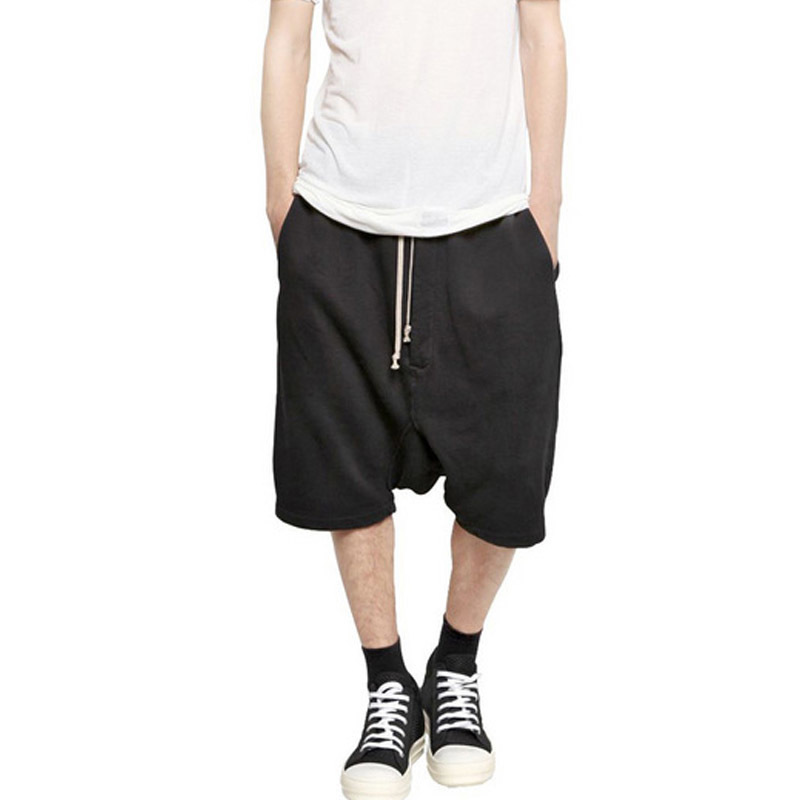 2020 New Men High Steet Baggy Loose Shorts Drop Crotch Harem Hose Casual Drawstring Knee Length Hip Hop Trousers Black Grey 4XL