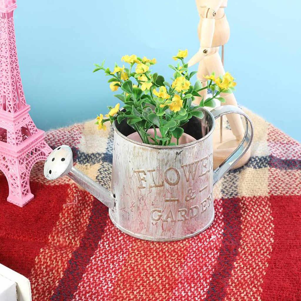 Retro เหล็กกระถางดอกไม้หม้อถังกระถางต้นไม้ผู้ถือแจกันดอกไม้ตกแต่งบ้านสำนักงานกระถางดอกไม้สวนอุปกรณ์
