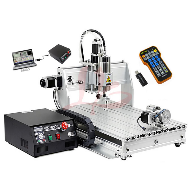 1500W USB 3 Axes 4 Axis CNC Router 6040 Woodworking PCB Milling Drilling Machine With MACH3 Remote Controller