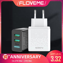 Floveme 5V LED Dual USB Charger untuk Iphone Ipad Samsung Xiaomi Cepat Dinding Travel Charger Uni Eropa Plug Ponsel charger Telepon(China)