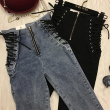 New Jeans Ankle-length Pants Europe Lace-Up Slim