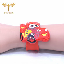 2019 hot Children Wristwatch Boy Girls Cartoon Car Watch Clock Silicone Slap