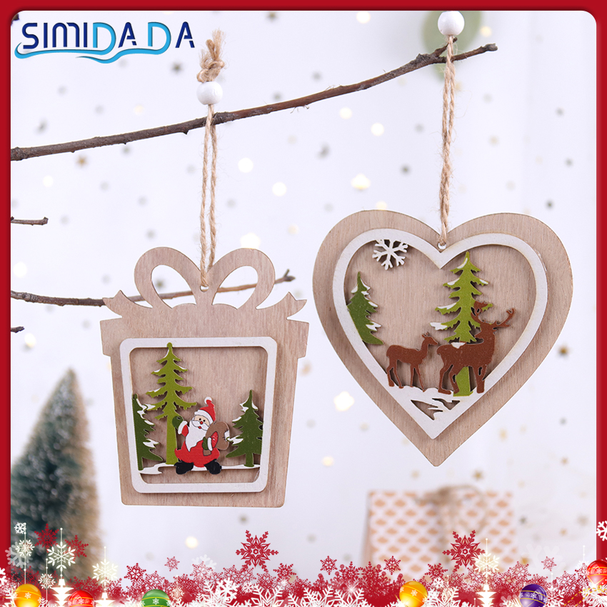 1PC 2D New Year Decorar Wood Christmas Tree Ornament Wooden Hanging Pendants Star Xmas Party DIY Decorations Gifts