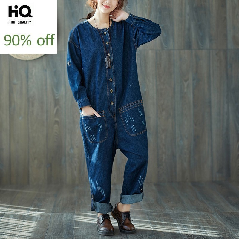 Fashion Denim Overalls Women Retro Ripped Torn Trousers Casual Deep Blue Loose Fit Long Pants Rompers Female Jumpsuit