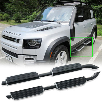 2Pcs left right steel side step fits for 2020 land rover defend 110 running board Nerf bar pedal protector side stairs hot sale flexible aluminium alloy side step running board electric pedal for cx 5 2017 2018