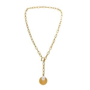 AENSOA Punk Porträt Münze Anhänger Lange Halskette Kragen Erklärung Gold Farbe Jungfrau Maria Münze Halskette für Frauen Chunky Schmuck