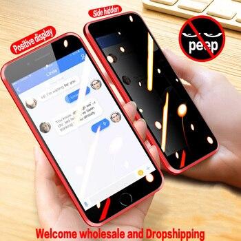 Magnético vidro temperado privacidade caixa do telefone de metal para iphone11 pro max x xr xs max 7 8 6s mais concha atacado e dropshipping