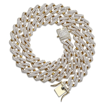 14mm Miami Prong Set Cuban Chains Necklace For Men Gold Silver Color Hip Hop Iced Out Paved Bling CZ Rapper Necklace Jewelry