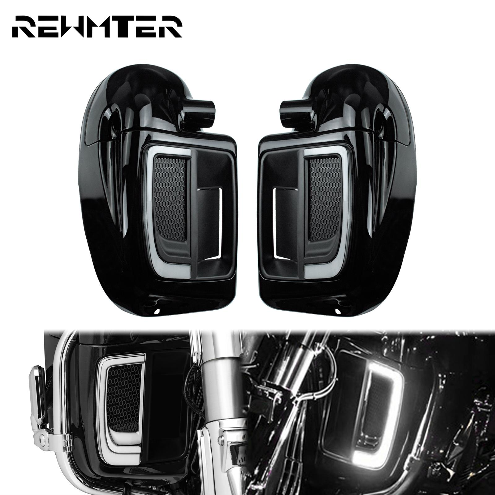 Motorcycle LED Fairing Lower Grills Light Solid Plates Cover Lower Vented Fairings Glove Box Set Gloss Black For Harley Touring
