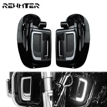 Parrillas inferiores de carenado LED para motocicleta cubierta de placas sólidas, kit de caja de guante de carenado con ventilación inferior, color negro brillante para Harley Touring