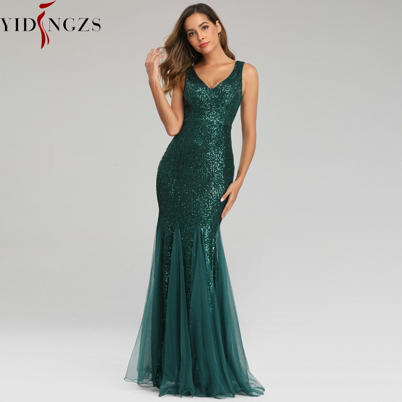 YIDINGZS Green Evening Dress Sleeveless Elegant Mermaid Long Formal Party Dress Robe De Soiree 2019
