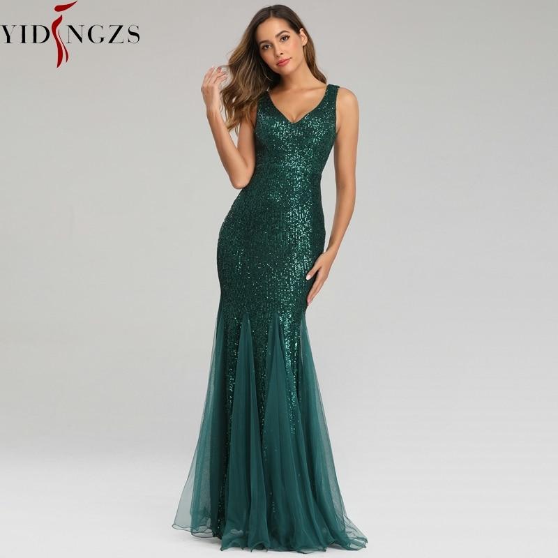 YIDINGZS Green Evening Dress Sleeveless Elegant Mermaid Long Formal Party Dress YD9682