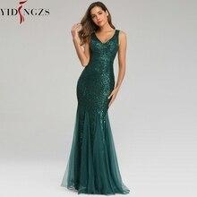 YIDINGZS فستان سهرة أخضر بدون أكمام أنيق حورية البحر طويل فستان رسمي للحفلات YD9682