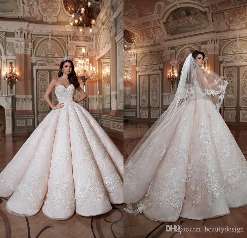 2020 Blush Roze Queen Trouwjurken Sweetheart Hard Satin Floor Lengte Lace Baljurk Custom Made Bruidsjurken