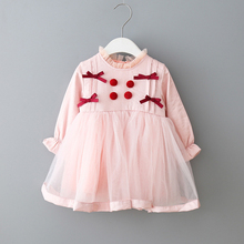 Spring New Kids Dresses For Girls Long Sleeve Lace Dress Tutu Children Baby Girl Sweet Solid Princess Party Dress Clothing цена 2017