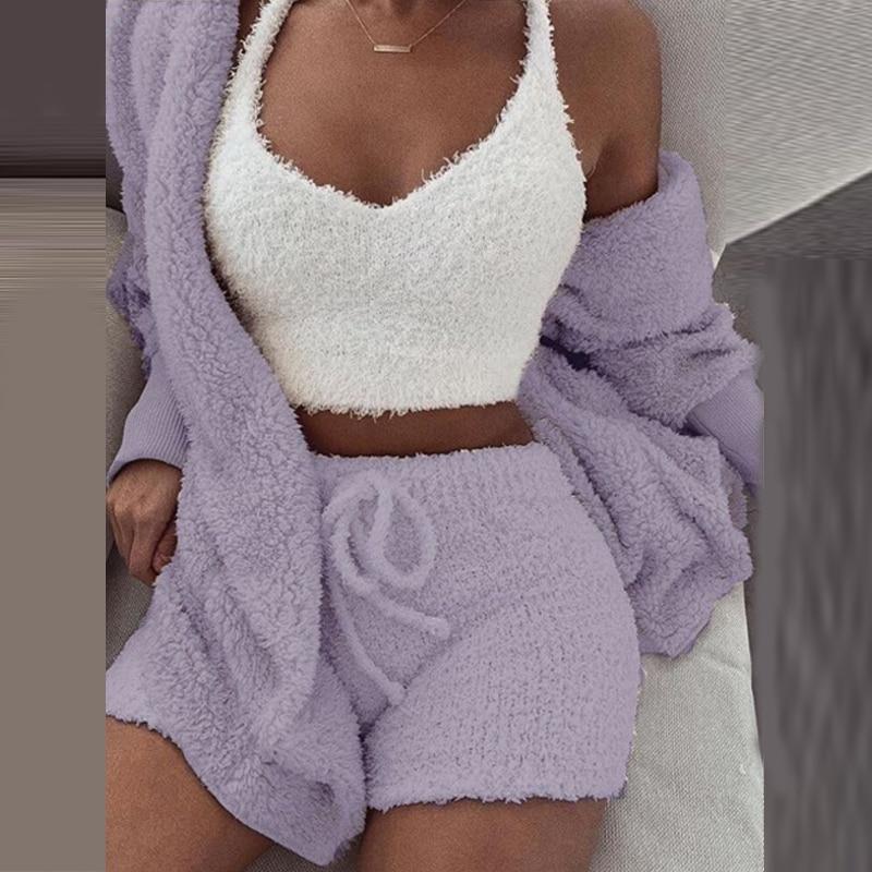 Echoine Women 2/3 Two-piece Sets Casual Sports Long-sleeved Jacket Shorts Suits Vest Female Tracksuit Plus Size Winter Lady XXXL