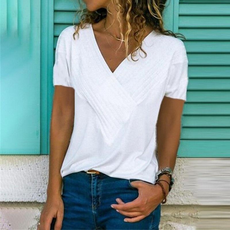 Белая футболка с v-образным вырезом для женщин 2019 летняя однотонная хлопковая футболка повседневная с коротким рукавом сексуальная футболк...