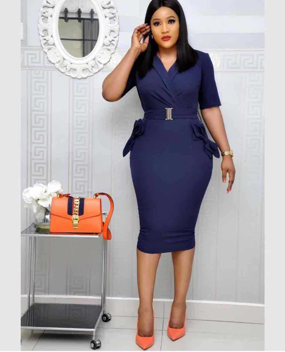 2019 Elegent Fashion Style Summer African Women V-neck Plus Size Knee-length Dress M-XXL