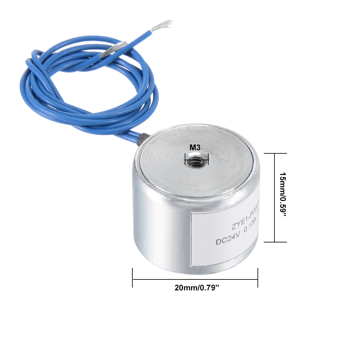 Uxcell 20mm X 15mm DC24V 0.13A 25N Sucking Disc Solenoid Lift Holding Electromagnet