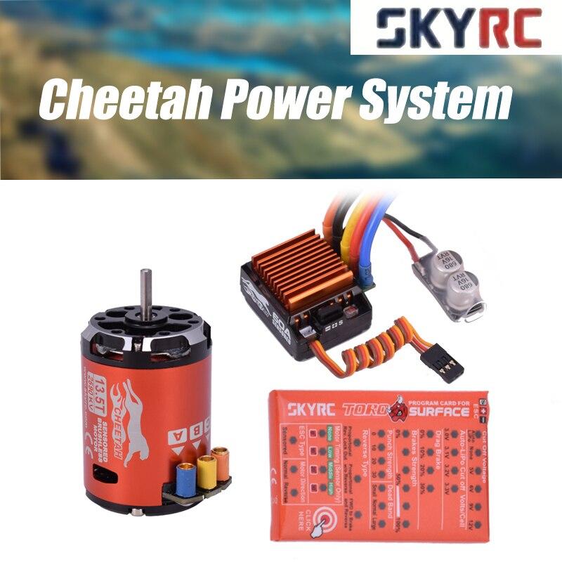 SkyRC เสือชีต้า 1/10 60A เซนเซอร์ ESC + Cheetah 13.5T 2590KV Brushless มอเตอร์การ์ดโปรแกรมระบบสำหรับ 1/10 1/12 RC รถ-ใน ชิ้นส่วนและอุปกรณ์เสริม จาก ของเล่นและงานอดิเรก บน   1