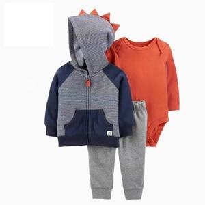 Image 4 - תינוק ילד בגדי סט ארוך שרוול תיקון מעילי + romper + צפצף אופנה 2020 חדש נולד תלבושת יילוד תינוקות בגדים אביב כותנה
