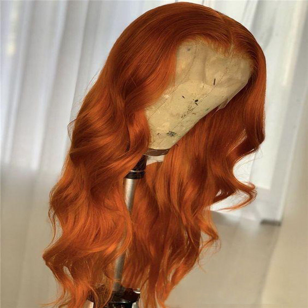 Orange Colored Blonde Human Hair Full Lace Wigs Natural Wave Brazilian Remy Hair Middle Part Glueless Wig 180 Density Baby Hair