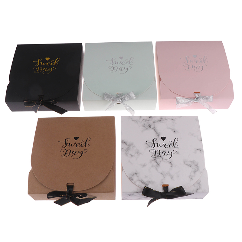 1pc Creative Simple Marble Style Gift Box Creative Kraft Paper DIY Gift Bag Candy Box Kawaii Party Supplies
