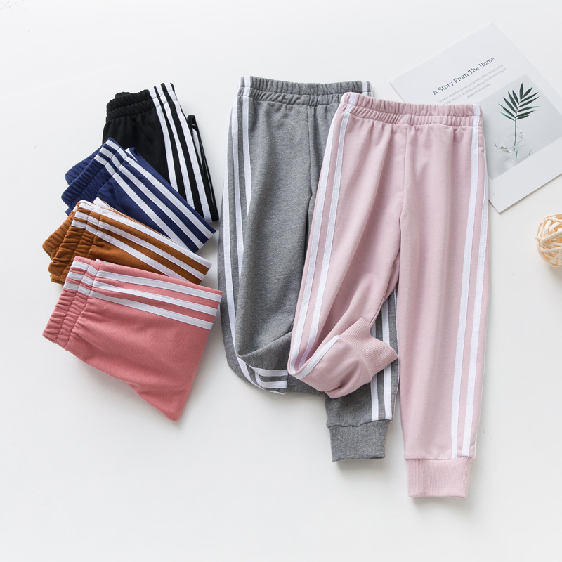 Autumn Winter Boys and Girls Trousers Stripe Sport Pants for Girls and Boys Kids Pants 4