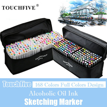 TouchFIVE 168 Colors Oily Alcohol Based Art Markers Set Dual Headed Sketch Marker Artist Brush Pen for Manga Water Color Pens touchfive 30 40 60 80 168 color art markers set dual headed artist sketch oily alcohol based copic markers for animation manga