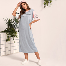 T-Shirt Dress Varsity Colorblock-Sleeve Long O-Neck Print Women Casual Summer Half