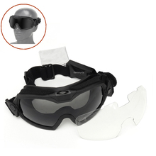 Military Airsoft Glasses Tactical Combat Anti-fog Goggles Outdoor UV Protection Hunting Wargame Glasses 2 Lens Shooting Goggles