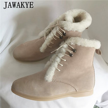 Winter Shoes Army-Boots Suede Snow Martin High-Top Bota Woman Non-Slip Lace-Up Solid