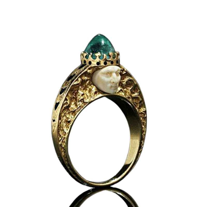 Green Stone Ring Classic  Fashion Vintage Birthstone Rings For Women Fine Jewelry