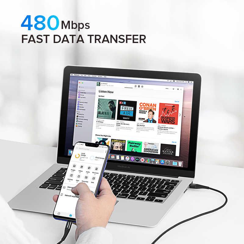 Ugreen USB Type Cสายเคเบิล 3A Fast Charger USB-Cข้อมูลสำหรับXiaomi Redmiหมายเหตุ 7 Samsungโทรศัพท์มือถือประเภท-Cสายชาร์จUSB