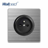 Wallpad-Toma de corriente de pared para el hogar, toma de corriente de pared eléctrica, Panel de acero inoxidable plateado, 2020