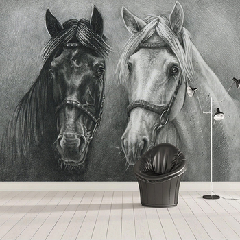 Custom Photo Mural 3D Creative Hand Painted Black And White Horse Bedroom Study Living Room Wall Decoration Painting Wallpaper