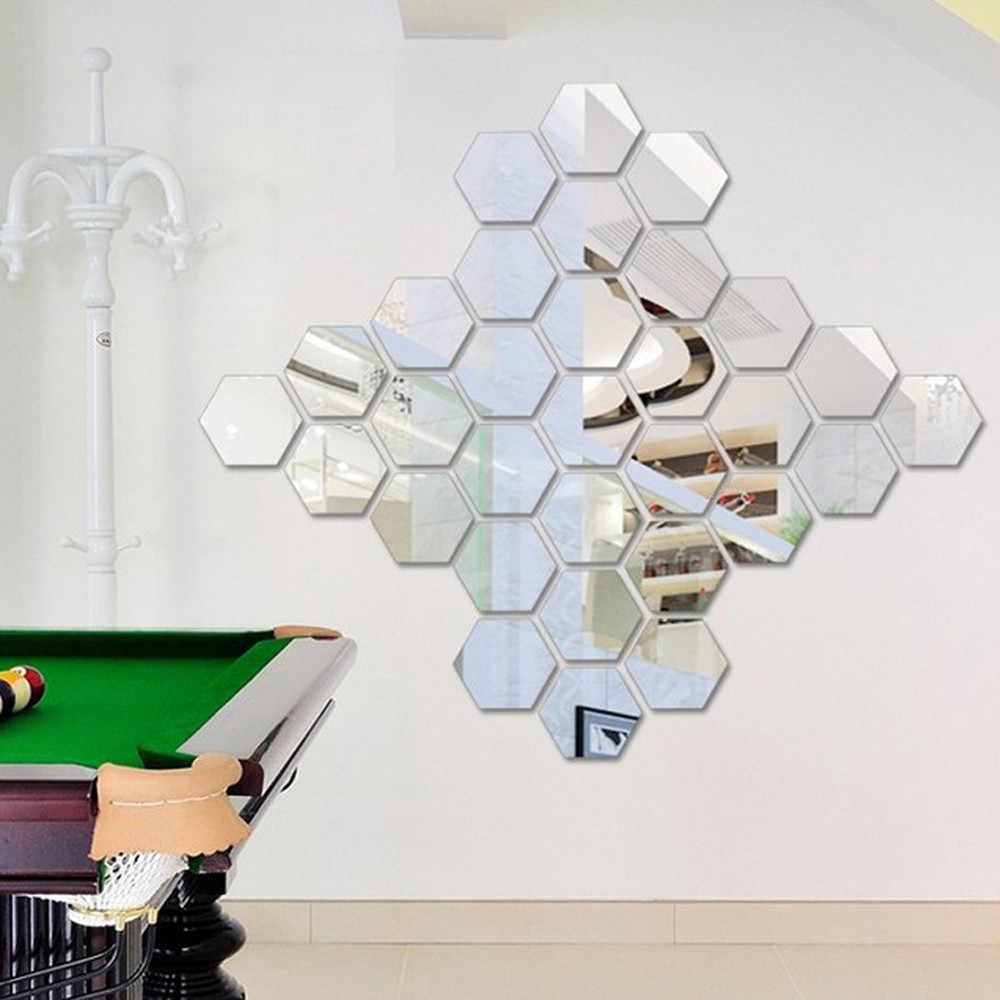 Hexágono 3d espelhado e decorativo 2 #12 peças, adesivo removível de parede, decalque de parede, moldura hexagonal para arte diy, espelho estéreo adesivo de parede