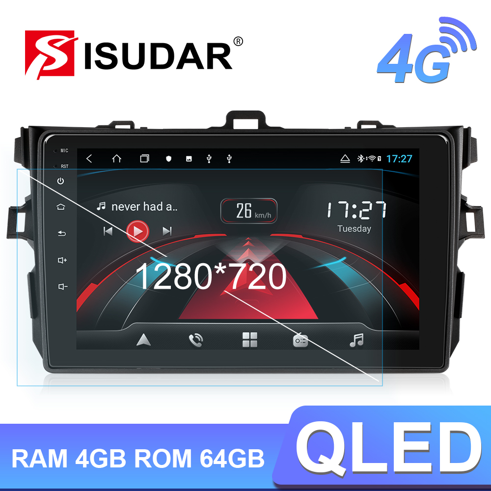 Isudar H53 4G Android 1 Din Auto Radio For <font><b>Toyota</b></font>/<font><b>Corolla</b></font> <font><b>E140/150</b></font> 2007-2011 Car Multimedia GPS 8 Core RAM 4G Camera DSP IPS DVR image