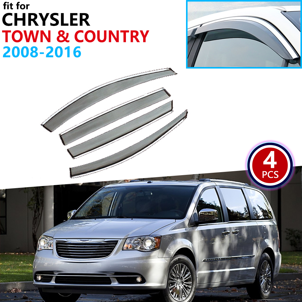 For Chrysler Town & Country 2008~2016 Window Visor Vent Awnings Rain Guard Deflector Shelters Accessories 2009 2010 2011 2012