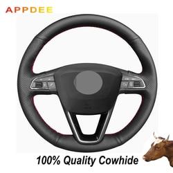 APPDEE czarne prawdziwa skóry osłona na kierownicę do samochodu Seat Leon 5F Mk3 2013-2019 Ibiza 6J Tarraco Arona Ateca Alhambra