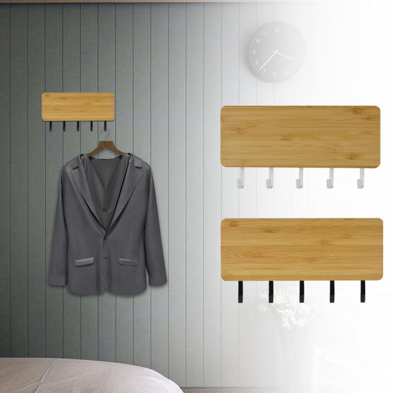 Space Saving Home Wall Hook Storage Rack Vintage Key Bamboo Hanger Hallway Home Decorative Room Small Bedroom Door Back Vintage