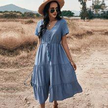 Senhoras vintage maxi sólido vestido de verão das mulheres de malha casual cintura alta botão borla bandagem feminina vestido de praia vestidos femininos