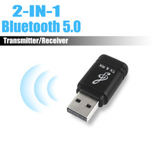 Universal USB Bluetooth Transmitter Receiver 2 in 1 Bluetooth 5.0 Dongle 3.5mm AUX for TV PC Wireless Audio Bluetooth Adapter(China)