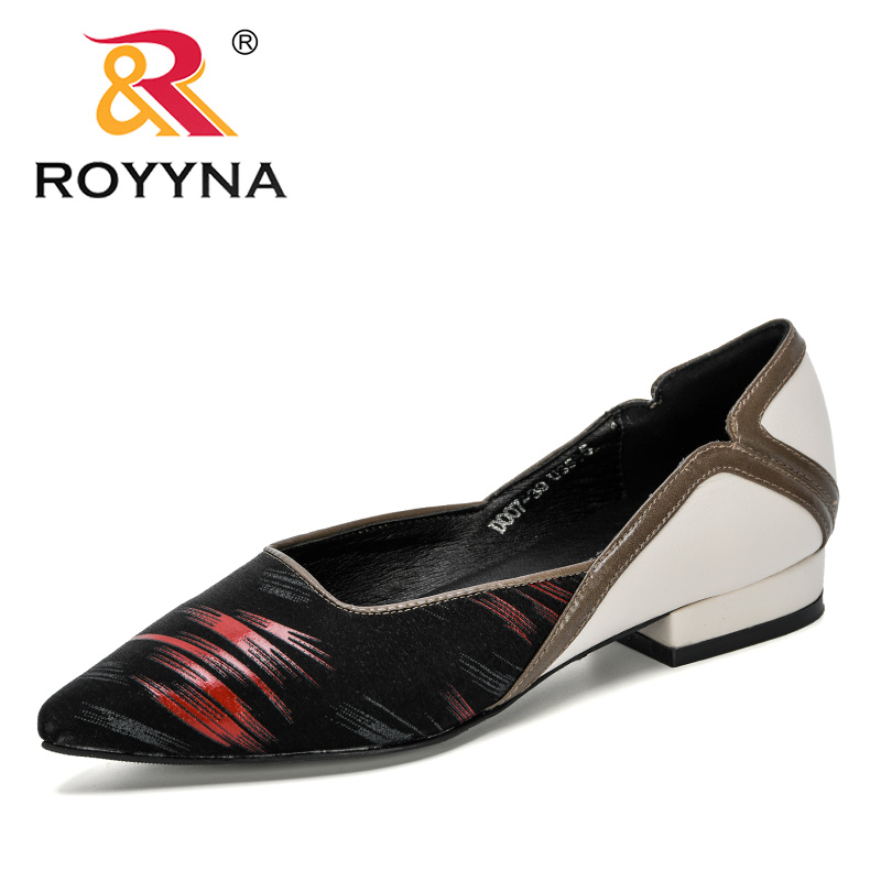 ROYYNA 2020 New Designers Fashion Style Pointed Toe Pumps Women Dress Lower Heels Boat Shoes Ladies Wedding Shoes Zapatos Mujer