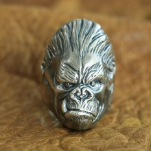 925 Sterling Silver King Kong Ring Mens Biker Punk APE King Ring  US Size 7.5~10 18 to 36 925 sterling silver skulls mens biker rocker punk necklace 8w004n