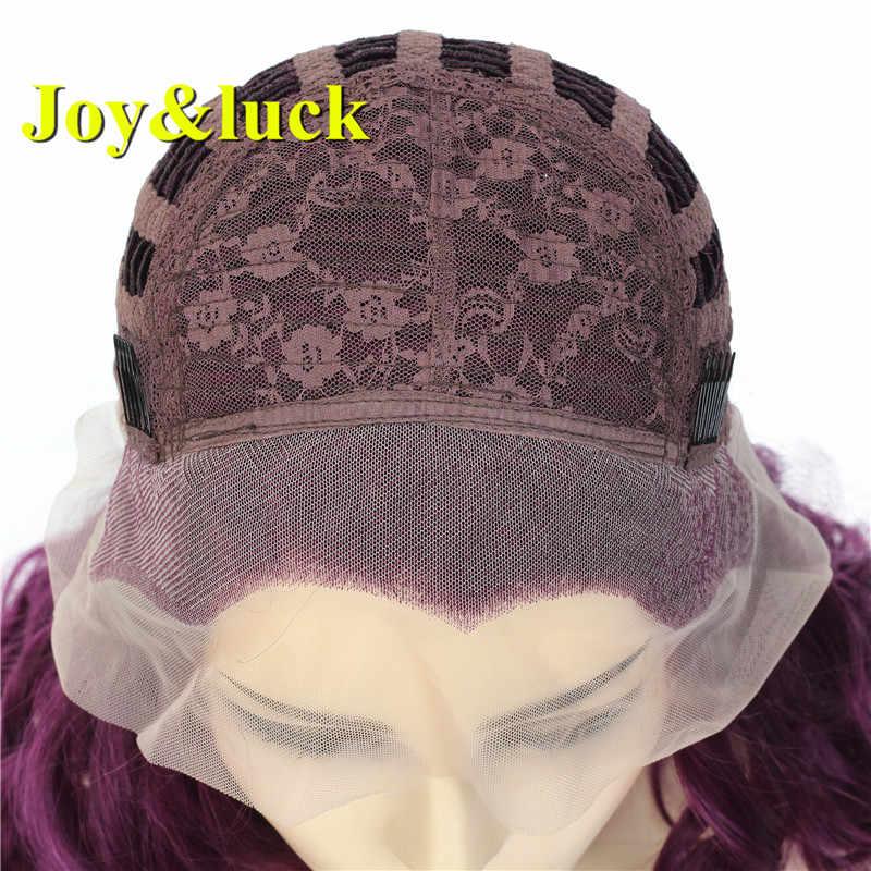 Vreugde & luck Natuurlijke Krullend Synthetische Lace Front Haar Pruik Paars Kleur Pruik voor Vrouwen