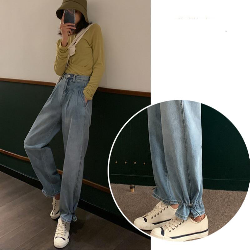 GUUZYUVIZ Wide Leg Jeans Woman Casual High Waist Denim Pants Ladies Plus Size Loose Boyfriend Jeans For Women Blue Vintgae